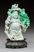 Carvings, A Chinese Jadeite Buddha Carving. 8-3/4 x 4-1/2 x 3 inches (22.2 x 11.4 x 7.6 cm). PROPERTY FROM A BEVERLY HILLS ESTATE. ...