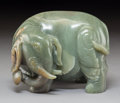 Carvings, A Chinese Jadeite Elephant. 4-7/8 x 6-1/2 x 5 inches (12.3 x 16.5 x 12.7 cm). PROPERTY FROM A BEVERLY HILLS ESTATE. ...