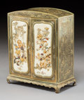 Furniture, A Chinese Mixed Metals Table Cabinet with Mother-of-Pearl-Inlaid Bone Panels, 20th century. Marks: (character marks). 7-1/4 ...
