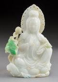 Carvings, A Chinese Jadeite Carving of a Buddha in a Meditative Pose in Original Fitted Box. 5-1/2 x 3-1/2 x 1 inches (14.0 x 8.9 x 2....