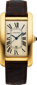 Timepieces:Wristwatch, Cartier, Fine Tank Americaine, 18K yellow Gold, Automatic, Ref. 1740, Circa 2000s. ...
