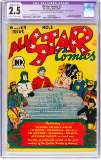 All Star Comics #3 (DC, 1940) CGC Apparent GD+ 2.5 Moderate (B-3)Off-white to white pages