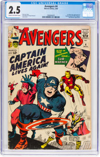 The Avengers #4 (Marvel, 1964) CGC GD+ 2.5 Cream to off-white pages