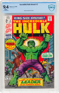 Silver Age (1956-1969):Superhero, The Incredible Hulk Annual #2 (Marvel, 1969) CBCS NM 9.4 White pages....