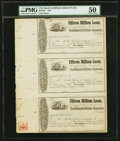 Confederate Notes:Group Lots, Ball 285 Cr. 140 Fifteen Million Loan Certificates Feb. 28, 1861Uncut Sheet of Three Remainders PMG About Uncirculated 50....