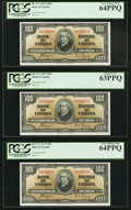 Canadian Currency, BC-27c $100 1937 Three Consecutive Examples. . ... (Total: 3 notes)