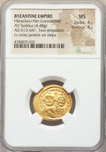 Ancients:Byzantine, Ancients: Heraclius (AD 610-641) with Heraclius Constantine. AVsolidus (21mm, 4.48 gm, 6h). NGC MS 4/5 - 4/5....