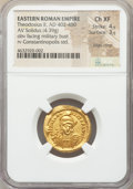 Ancients:Roman Imperial, Ancients: Theodosius II, Eastern Roman Empire (AD 402-450). AVsolidus (21mm, 4.39 gm, 6h). NGC Choice XF 4/5 - 3/5, edgecrimp....