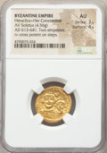 Ancients:Byzantine, Ancients: Heraclius (AD 610-641) with Heraclius Constantine. AVsolidus (20mm, 4.56 gm, 7h). NGC AU 3/5 - 4/5....