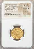 Ancients:Byzantine, Ancients: Justin II (AD 565-578). AV solidus (21mm, 4.42 gm, 6h).NGC Choice XF 4/5 - 4/5, clipped....