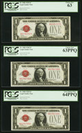 Small Size:Legal Tender Notes, Fr. 1500 $1 1928 Legal Tender Notes. Three Consecutive Examples. PCGS Choice New 63, Choice New 63PPQ, and Very Choice New 64P... (Total: 3 notes)