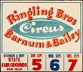 """Movie Posters:Miscellaneous, Circus Poster (Ringling Brothers and Barnum & Bailey Circus, 1943). Fine+, on Linen. Poster (36"""" X 41.5""""). Miscellaneous.. ..."""