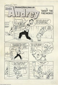 """Original Comic Art:Panel Pages, Steve Mufatti - Little Audrey #31, Group of 4 pages """"Little Audrey in Shoot the Fireworks"""" Original Art (Harvey, 1953).... (4 Original Art)"""