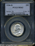 "Washington Quarters: , 1936-D 25C MS63 PCGS. The current Coin Dealer Newsletter(Greysheet) wholesale ""bid"" price is $735.00...."