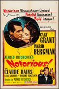 """Movie Posters:Hitchcock, Notorious (Selznick, R-1954). Folded, Fine/Very Fine. One Sheet(27"""" X 41""""). Hitchcock.. ..."""