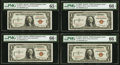 Fr. 2300 $1 1935A Hawaii Silver Certificates. Eight Examples. PMG Graded