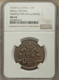 "German East Africa, German East Africa: German Colony. Wilhelm II ""Small Crown"" 20Heller 1916-T MS64 NGC,..."