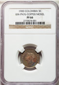 Colombia, Colombia: Republic copper-nickel Proof Pattern 5 Centavos 1900 PR66NGC,...