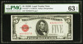Small Size:Legal Tender Notes, Fr. 1527* $5 1928B Legal Tender Note. PMG Choice Uncirculated 63 EPQ.. ...