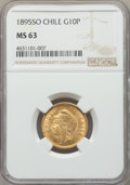 Chile, Chile: Republic gold 10 Pesos 1895 MS63 NGC,...