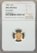 1853 G$1 -- Cleaned -- NGC Details. Unc. NGC Census: (254/8500). PCGS Population: (157/4366). MS60. Mintage 4,076,051...