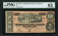 Confederate Notes:1864 Issues, T68 $10 1864 PF-38 Cr. 550 PMG Choice Uncirculated 63.. ...