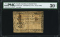 Colonial Notes:South Carolina, South Carolina December 23, 1776 $1 PMG Very Fine 30 Net.. ...