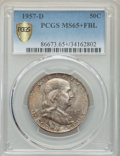 Franklin Half Dollars, 1957-D 50C MS65+ Full Bell Lines PCGS Secure. PCGS Population: (2508/479 and 14/35+). NGC Census: (857/185 and 3/6+). MS65....