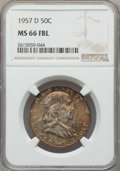Franklin Half Dollars, 1957-D 50C MS66 Full Bell Lines NGC. NGC Census: (177/8). PCGS Population: (456/23). MS66. ...