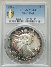 1987 $1 Silver Eagle MS64 PCGS Secure. PCGS Population: (48/19025 and 0/0+). NGC Census: (18/125959 and 0/0+). Mintage 1...