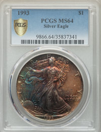 1993 $1 Silver Eagle MS64 PCGS Secure. PCGS Population: (49/8513 and 0/0+). NGC Census: (25/111940 and 0/0+). ...(PCGS#...