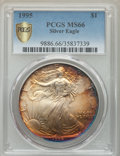Modern Bullion Coins, 1995 $1 Silver Eagle MS66 PCGS Secure. PCGS Population: (149/9715 and 0/0+). NGC Census: (228/101380 and 0/0+). Mintage 4,...