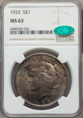 Peace Dollars: , 1923 $1 MS63 NGC. CAC. NGC Census: (109066/190823). PCGS Population: (88642/107919). MS63. Mintage 30,800,000. ...