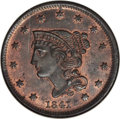 Large Cents, 1841 1C N-3, R.2, MS65 Brown NGC. CAC....