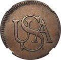 Colonials, (1785) 'USA' Bar Token -- Reverse Scratches -- NGC Details. XF. Breen-1145, W-8520, R.4....