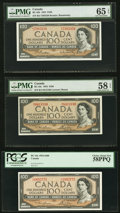 Canadian Currency, BC-43b $100 1954 PMG Gem Uncirculated 65 EPQ;. BC-43c $100 1954, Two Examples PMG Choice About Unc 58 EPQ; PCGS Choice Abo... (Total: 3 notes)