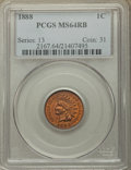 Indian Cents: , 1888 1C MS64 Red and Brown PCGS. PCGS Population: (239/49). NGC Census: (161/74). CDN: $350 Whsle. Bid for problem-free NGC...