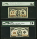 Canadian Currency, DC-24c 25 Cents 1923 PMG Gem Uncirculated 65 EPQ;. DC-24d 25 Cents1923 PMG Gem Uncirculated 65 EPQ.. ... (Total: 2 notes)