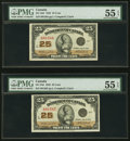Canadian Currency, DC-24d 25 Cents 1923 Two Consecutive Examples PMG AboutUncirculated 55 EPQ.. ... (Total: 2 notes)