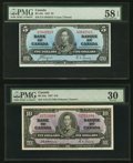 Canadian Currency, BC-23c $5 1937 PMG Choice About Unc 58 EPQ;. BC-24a $10 1937 PMG Very Fine 30.. ... (Total: 2 notes)