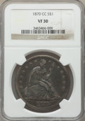 Seated Dollars, 1870-CC $1 VF30 NGC. OC-9, Low R.4....