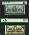 Canadian Currency, BC-23a $5 1937 PMG Very Fine 25;. BC-25b $20 1937 PCGS Choice AboutNew 58PPQ.. ... (Total: 2 notes)