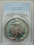 Modern Bullion Coins, 1995 $1 Silver Eagle MS67 PCGS. PCGS Population: (390/9325). NGC Census: (238/101142). Mintage 4,672,051. ...