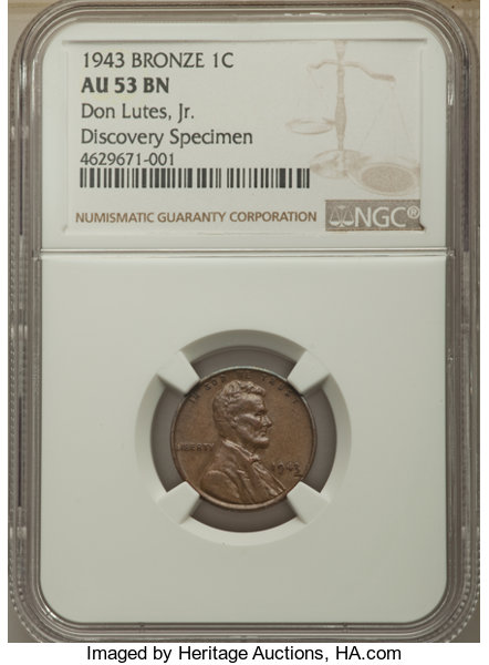 1943 CENT Struck on a Bronze Planchet AU53 NGC     Lincoln