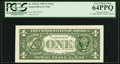 Error Notes:Third Printing on Reverse, Overprint on Back Fr. 1921-B $1 1995 Federal Reserve Note. PCGS Very Choice New 64PPQ.. ...