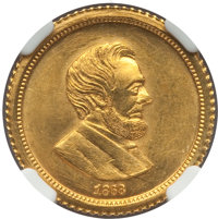 """1868 """"Three Dollar"""", Merriam Fantasy, Judd-C1868-1, MS66 NGC. From The HBC Collection. ...(PCGS# 62401)"""