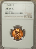 Lincoln Cents: , 1956-D 1C MS67 Red NGC. NGC Census: (116/0). PCGS Population: (75/0). CDN: $225 Whsle. Bid for problem-free NGC/PCGS MS67. ...