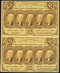 Fractional Currency:First Issue, Fr. 1281 25¢ First Issue Uncut Vertical Pair About New.. ...