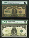 Canadian Currency, DC-25k $1 1923 PMG Fine 12;. DC-26d $2 1923 PMG Very Fine 30.. ... (Total: 2 notes)