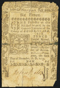 Colonial Notes:Rhode Island, Rhode Island November 6, 1775 6d Fine.. ...